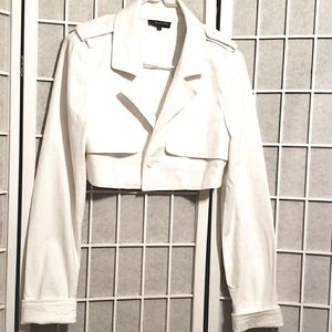 ALVIN VALLEY WHITE LINEN CROP JACKET SZ 38/M
